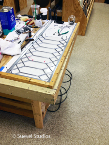 Leaded Stained Glass Transom Under Construction