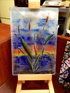 """Cattails at Sunset"", Artist: Eric Suevel, Frit cast into a carved mold made of Castalot Mold Mix."